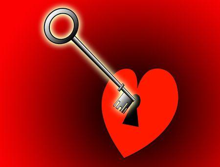 symbolize: A conceptual image of a key unlocking a heart.