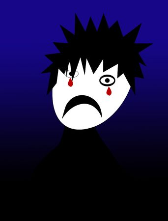 A cartoon image of a emo person. photo