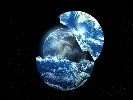 A conceptual image about rebirthing the world. photo
