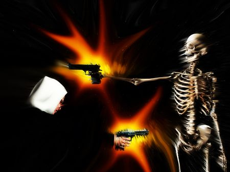 asbo: A conceptual abstract image showing that gun crime can lead to death. Stock Photo