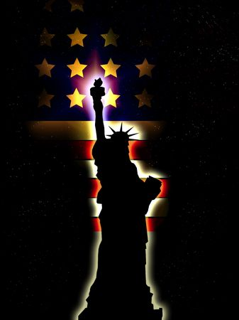 A silhouette of the statue of liberty, with an added American flag.