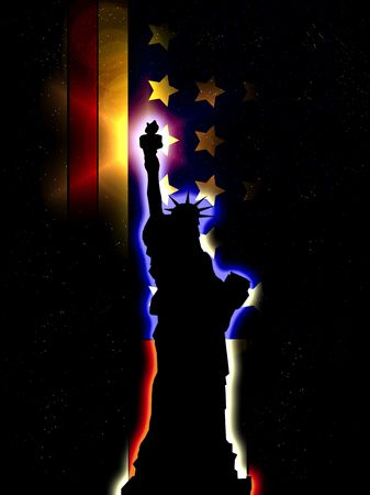 A silhouette of the statue of liberty, with an added American flag. Stock Photo - 3638641