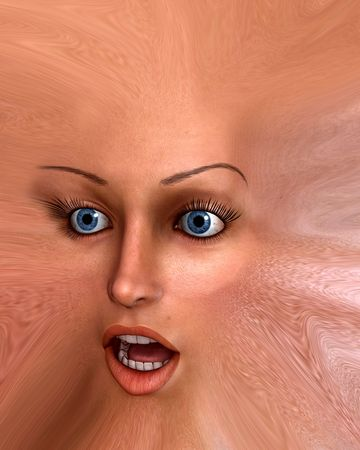 deformity: A distorted human face monster, it would be good for  or emotion concepts. Stock Photo
