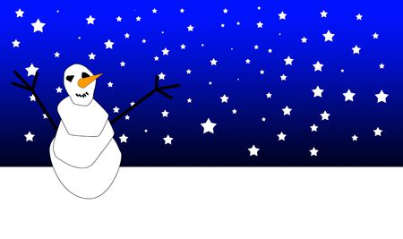 nightime: A smiling Christmas snowman in a snow landscape at night.