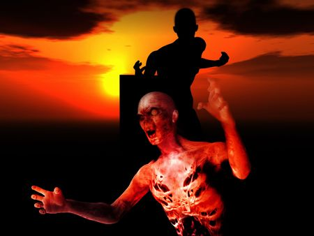 decomposition: Some zombies with a sunset background.