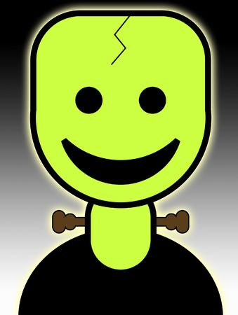 reanimated: A cute and friendly cartoon Frankenstein for the Halloween holiday.