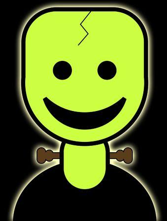 cartoon frankenstein: A cute and friendly cartoon Frankenstein for the Halloween holiday.