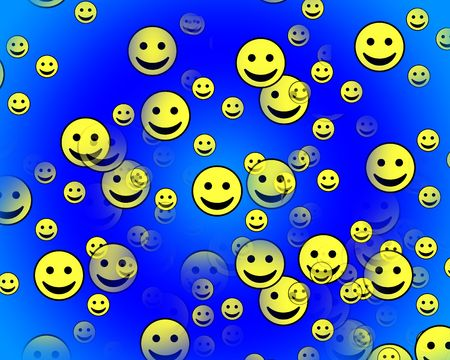 blissful: A multitude of happy faces with varying degrees of transparency and scale. Stock Photo
