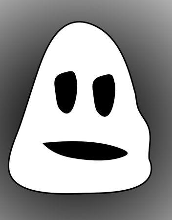 A simple cartoon ghost head for Halloween. Banco de Imagens
