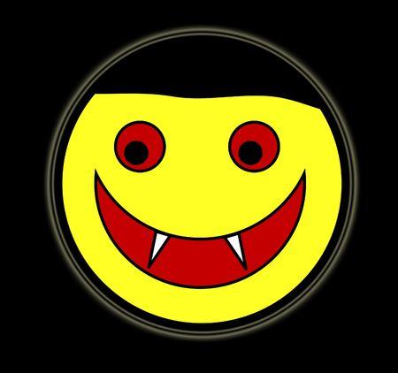 vamp: A happy cartoon Vampire face for . Stock Photo