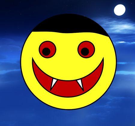 nightime: A happy cartoon Vampire face for . Stock Photo