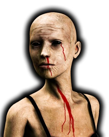 A close up of a bald zombie women. Stock Photo - 3725120