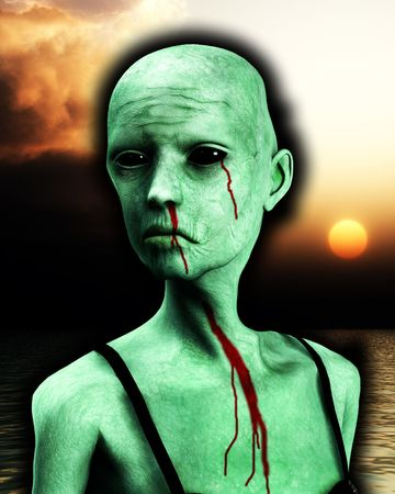 decaying: A close up of a bald zombie women.