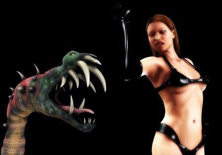 dominatrix: A sexy PVC women battling a vicious  monster. Stock Photo