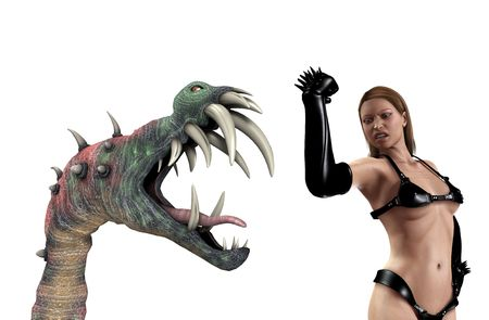 A sexy PVC women battling a vicious  monster. Stock Photo