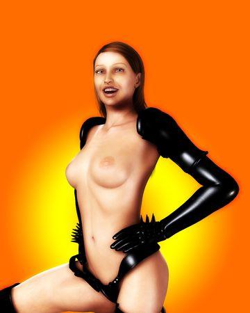 Un sexy topless donne vestite in PVC. Archivio Fotografico - 3741694