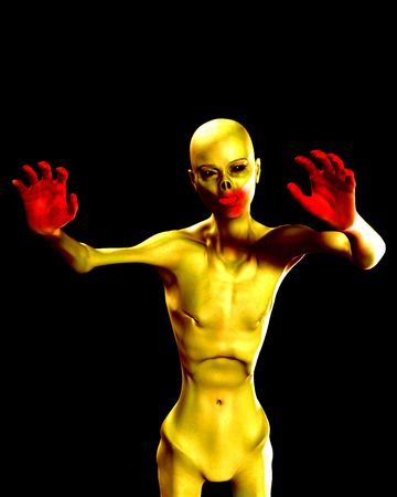 emaciated: A conceptual image of a zombie for the  season.