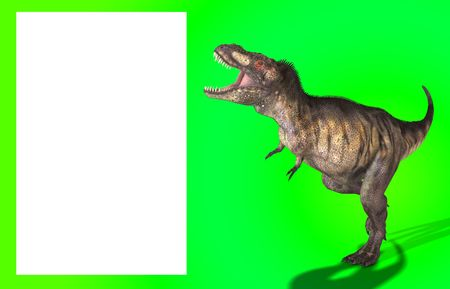 customisable: A Tyrannosaurus Rex in a menacing pose, with a blank customisable space.