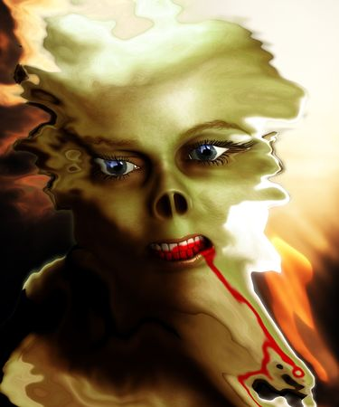 deformity: A distorted monster face with blood, would be good for Halloween concepts. Stock Photo