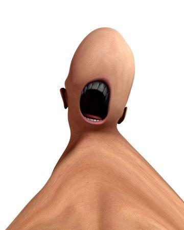 nightmarish: A conceptual nightmarish abstract screaming distorted monster, suitable for Halloween.