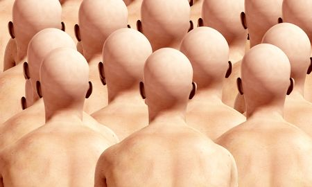 A lot of duplicated male backs, suitable for conformity concepts.