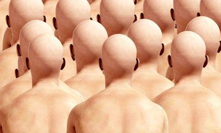 Una gran cantidad de duplicación de la espalda masculino, adecuado para la conformidad conceptos. Foto de archivo
