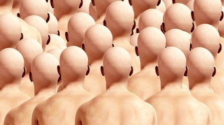 conformity: A lot of duplicated male backs, suitable for conformity concepts.