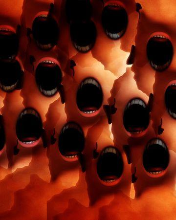 nightmarish: A conceptual nightmarish abstract screaming distorted monsters, suitable for Halloween.