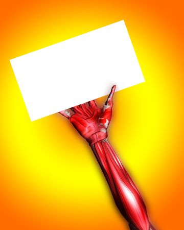 customisable: A skinless arm for medical or Halloween concepts. Holding a blank customisable sign.