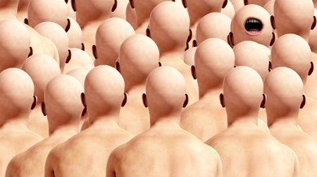 A conceptual image representing individuality amongst conformists.