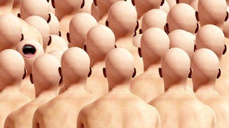 conform: A conceptual image representing individuality amongst conformists.