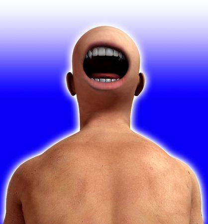 nightmarish: A conceptual nightmarish abstract image of a freaky man, suitable for Halloween. Stock Photo