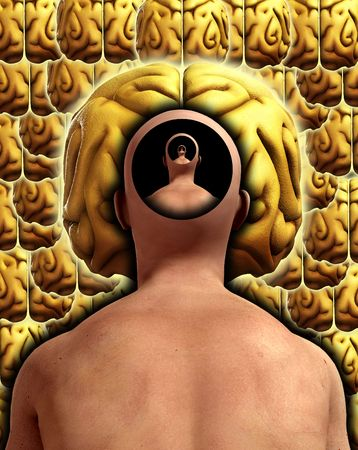 figurative: A conceptual image about thoughts and the mind and infinity. Stock Photo