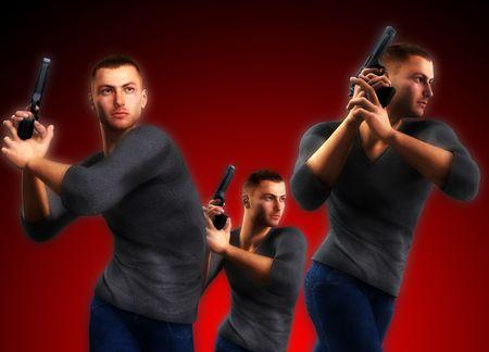 undercover: 3 poliziotti sotto detenzione armi pone in azione. Archivio Fotografico