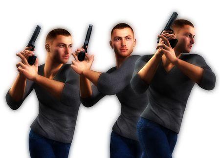 undercover: 3 poliziotti in borghese azienda cannoni in azione pone.