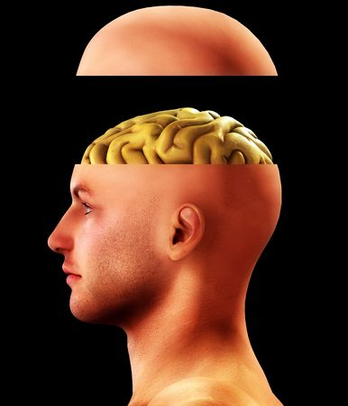 Profile of a man with an open head for medical and thought concepts. photo