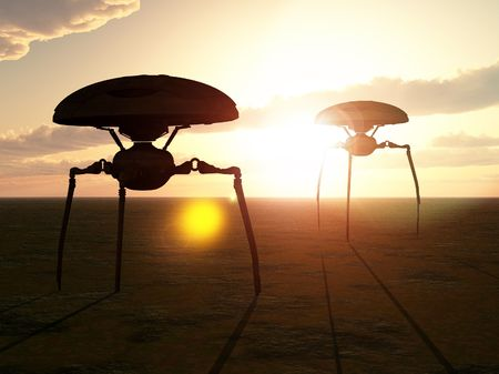 An invasion of alien tripods, with a sunset background. Stock Photo - 3903206