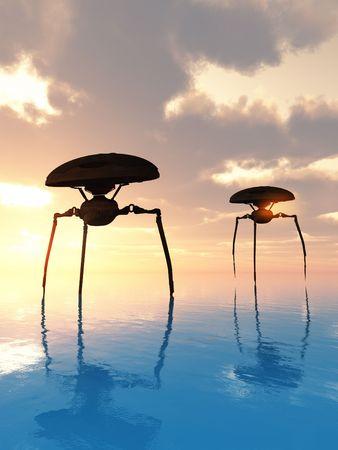 Two invading alien tripods walking the ocean.