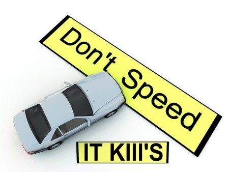 warned: Conceptual image about the dangers of speeding.