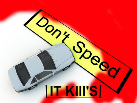 numberplate: Conceptual image about the dangers of speeding.