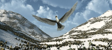 predictor: An eagle flying high in the sky.