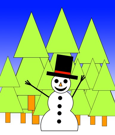 green tophat: A happy illustrated snowman in a forest for Christmas. Stock Photo