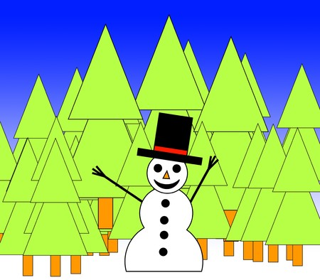 A happy illustrated snowman in a forest for Christmas. photo