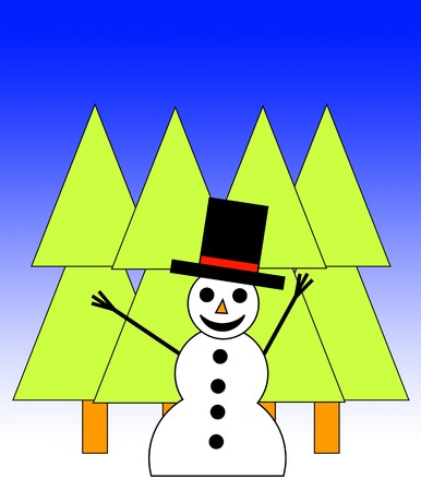 A happy illustrated snowman in a forest for Christmas. Stock Photo - 4007215