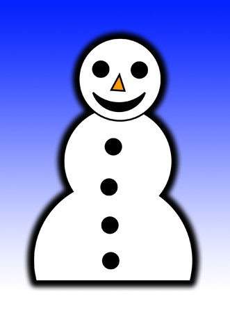 contended: A illustrated happy snowman for Christmas. Stock Photo