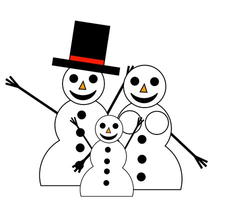 blissful: An illustrated family of happy snowpeople for Christmas. Stock Photo