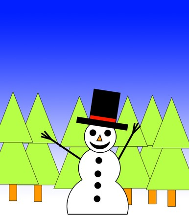 A happy illustrated snowman in a forest for Christmas. Stock Photo