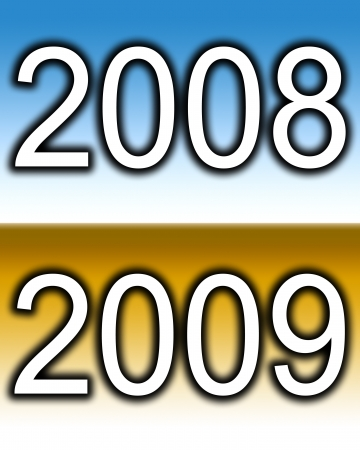 zeros: Conceptual image representing the transition between 2008 to 2009.