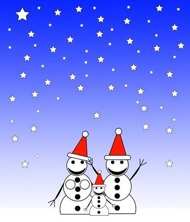 nightime: A family of happy snowmen at night.