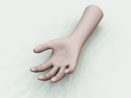 A disembodied hand for Halloween, accident or medical concepts.